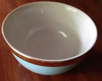 Mid-Century Modern Retro Hall's Superior Made in USA Aqua Mixing Bowl M496-6