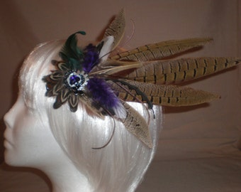 Purple and Brown Feather Hair Piece