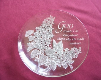 Clear Glass Mother Plate With Butterfly and Flowers