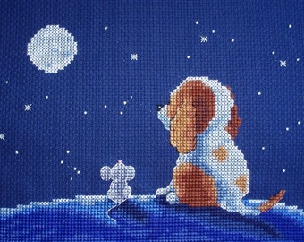 KL64 On Top of the World! Sam & Peeps (Puppy and Mouse) Counted Cross Stitch Kit