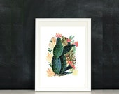 SALE Blooming Cactus, watercolor painting, Home Decor, DownloadAart, Fine art, Still Life