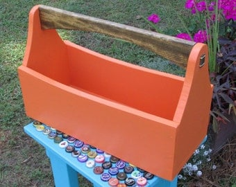 Wood Tool Box, Tool Tote, Tool Caddy, Garden Tote, Toolbox, Farmhouse, Roasted Squash, Handcrafted, Wood
