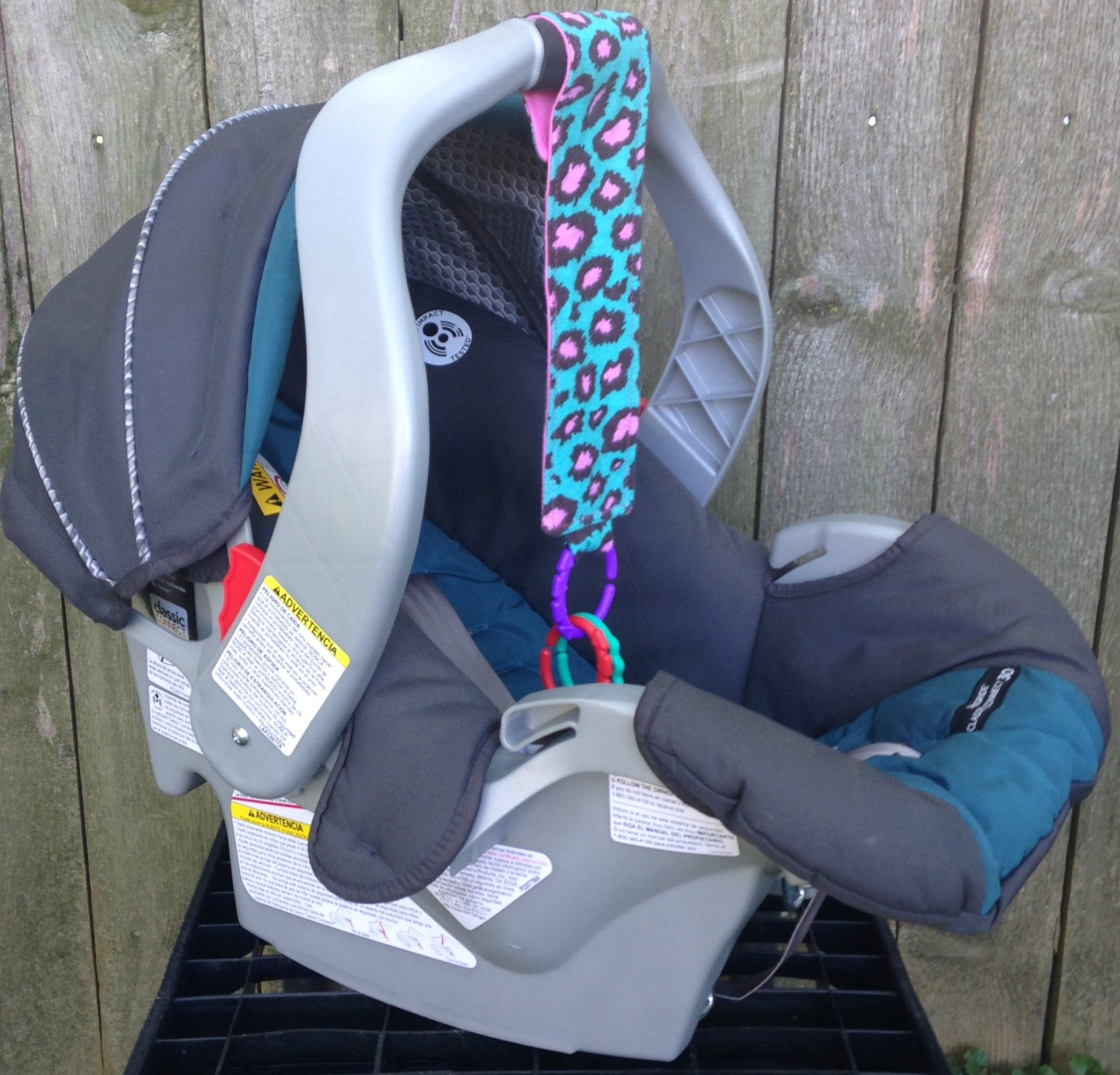 Pink Cheetah Car Seat Toy Ages 3 Months & Up By Sewn4ACause