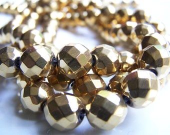 Gold Faceted Titanium Hematite Beads SPARKLY!  9mm, 15  1/2 inch strand