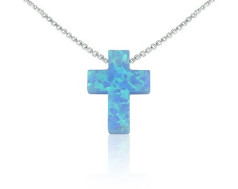 Opal Cross Necklace • Blue • Sterling Silver Chain • Safe to Wet • Best Price on Etsy • 7 Chain Lengths • Ideal Cross Necklace Gift For Her