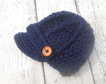 Newborn baby hat, Crochet newsboy hat , in navy color and 74 colors to choose,crochet baby boy hat for photo prop