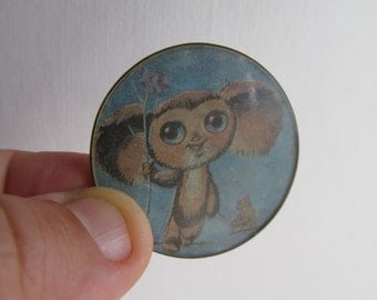 Rare soviet pin badge pinbacks Cheburashka and Gena crocodile a character children of Russian cartoon. Made in the USSR.