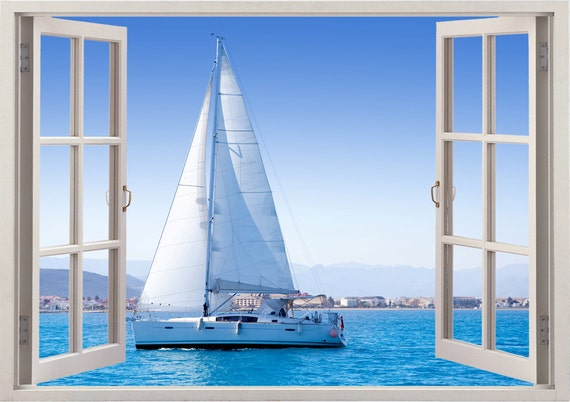 Sailboat Window Wall Sticker Boat Wall Decal For Home Decor