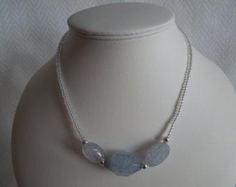 Blue Quartz Nugget Gemstone and Seed Bead Healing Necklace Gift - Handmade UK Seller