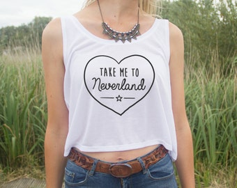 Take Me To Neverland Crop Tank Top Heart Cute