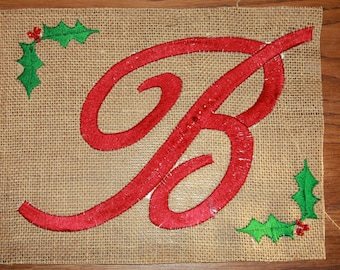 Personalized Burlap Christmas Tree Skirt. with Script Lettering and Holly-berry accents