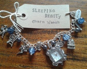 Sleeping Beauty inspired Charm Bracelet Watch