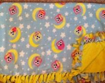 Owl, stars and moon fleece tie blanket, fleece tie blanket