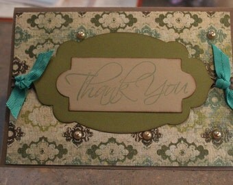 Handmade and stamped thank you card