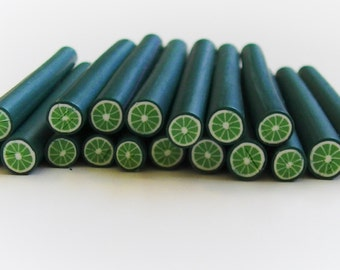 CLEARANCE! 10 Pc. Miniature Polymer Clay Lime Canes, *Free Shipping, Bin #43