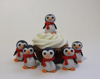 Black Fondant Penguin cupcake or cake toppers, 12 pack
