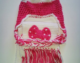 Set Minnie Mouse Black and Pink Crochet Girl's Scarf and Hat