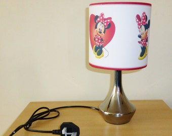 handcrafted minnie mouse red bedside lamp lamp shade. Black Bedroom Furniture Sets. Home Design Ideas