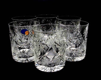 Set of 6 Russian Cut Crystal Rocks glasses/tumblers for Cognac, Whiskey 12 oz. Hand made, NEW.