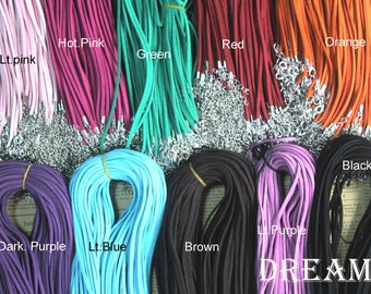 100pcs/lots, 2mm Width Flat Suede Necklaces Cord,18Inch lenght, Lobster Clasp Ending