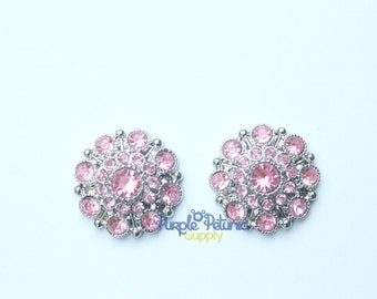 5 pc pink rhinestone buttons, light pink rhinestone button, 28mm rhinestone button