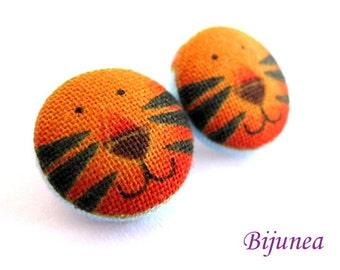 Tiger earrings - Orange tiger earrings - Tiger studs - Tiger posts - Tiger stud earrings - Tiger post earrings sf317