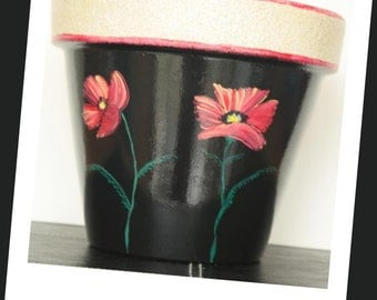 Hand Painted flower Pot- 8 Inch, Big Field Poppies