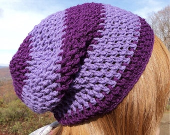 Slouchy Beanie Hat, Crochet Beanie, Hipster Beanie, Purple Beanie, Hipster Slouch Beanie, Hipster Slouch, Slouch Hat