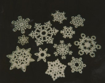 Paper Snowflakes Hand Cut And Covered On Both Sides With