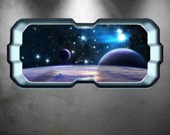 Full Colour Space Planet Window Galaxy Stars Moon Wall Art Sticker Decal Boys Bedroom