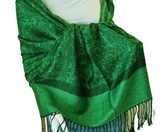 Green Black Women's Paisley Pashmina Shawl Wrap Stole Scarf -- AL