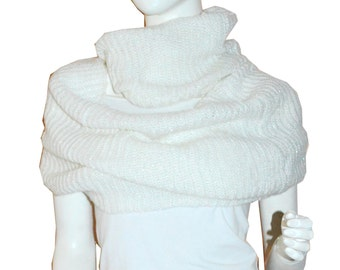White Sparkling Knit Warm Winter Circle Cowl Loop Infinity Scarf