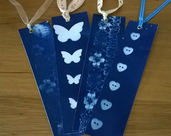 Cyanotype Print Bookmarks with Ribbon