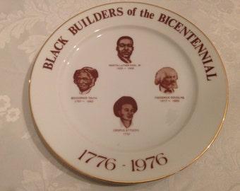 Commemorative American Bicentennial plate celebrating African American greats