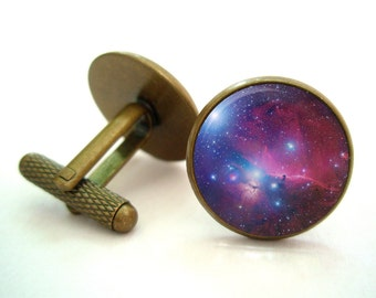 Universe Galaxy Cufflinks (Antique.bronze./.Silver.tone)