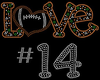 PERSONALIZE Football Love Custom ( Personalize with school/ team colors & number) rhinestone iron on transfers