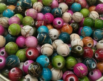 6mm Mixed Acrylic Drawbench Beads