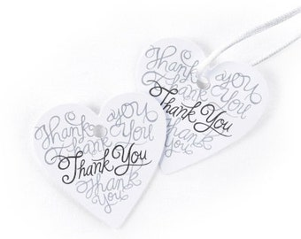 Wedding Favor Heart Thank You Tags (Pack of 25)