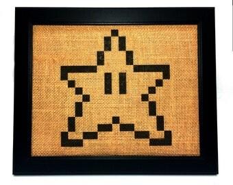 Burlap Super Mario Star 8 -Bit Print