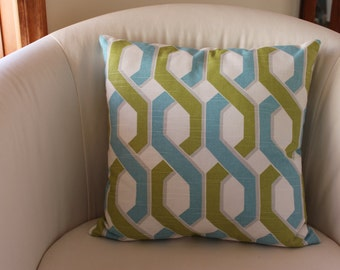 16 x 16 Green/Blue Geometric Pillow Cover