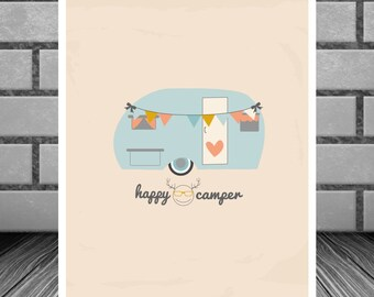 Happy Camper Art Print Instant Download Typography Printable Wall Art 8 x 10