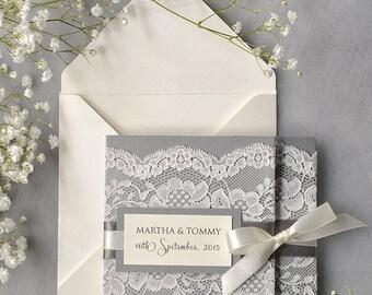 Romantic Ivory Lace  Wedding Invitation (100), Grey Wedding Invitation, Pocket Fold Wedding Invitations,