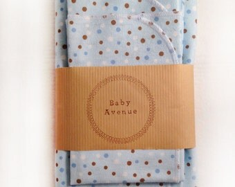 Boy Polka Dots Baby Swaddle/Receiving Blanket+Two Burp Cloths