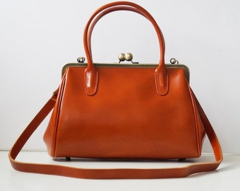 Leather Handbag Sophie brown, vintage ladies leather bag, handle bag, shoulder bag, genuine leather, handmade leather bag, leather handbag