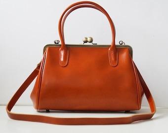 Leather Handbag Sophie brown, vintage ladies leather bag, handle bag, shoulder bag, genuine leather, handmade leather bag, leather handbag
