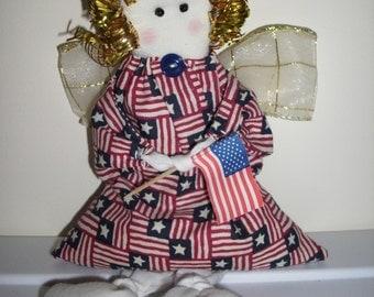 Patriot Angel Hand-Made Shelf-Sitter Doll