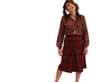 plaid kick pleat skirt - vintage 1960s skirt - red plaid skirt - high waisted skirt