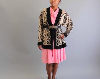SALE cardigan vintage cardigan . womens oversized cardigan . novelty print cardigan . 1980s cardigan . boyfriend fit