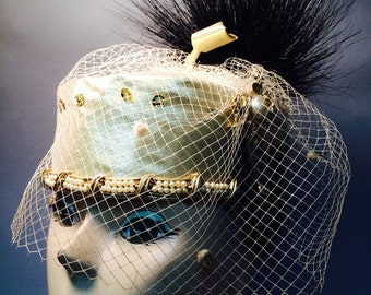 Vintage 1980's REGAL Gold Lame One of a Kind Hat STEAMPUNK Style OOAK