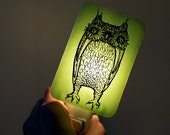 Owl Nightlight of Fused Glass in Mint Green - Large Funny Owl by Happy Owl - night light Halloween Decor Owl